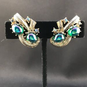 Vintage clip earrings with Aurora Borealis stones